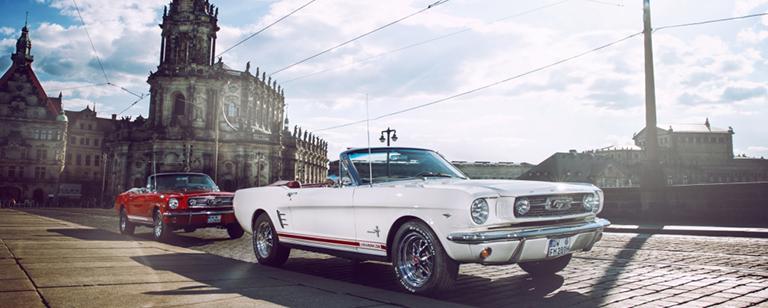 Ein Hochzeitsauto in Dresden mieten - wie wärs mit einem Ford Mustang