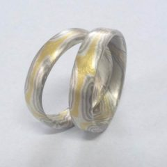Trauringe in Gelbgold Silber Paladium