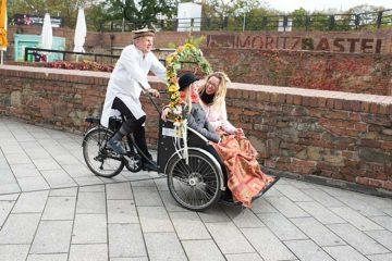 Rikschafahrt zur Hochzeit in Leipzig