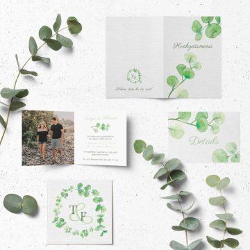 Einladung zur Hochzeit Eukalyptus Monogramm